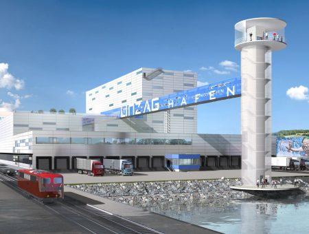 Logistikhallen – Verlandungsfläche 2 im Handelshafen Linz