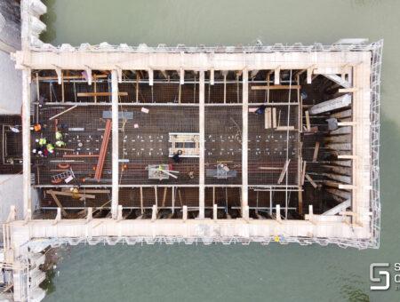 Donauhochwasserschutz – Hafentor im Hafen Albern